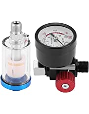 Air Pressure Regulator 1/4 Pneumatic Spray Gun Air Pressure Regulator Gauge in-line Oil Water Trap Filter Separator Kit