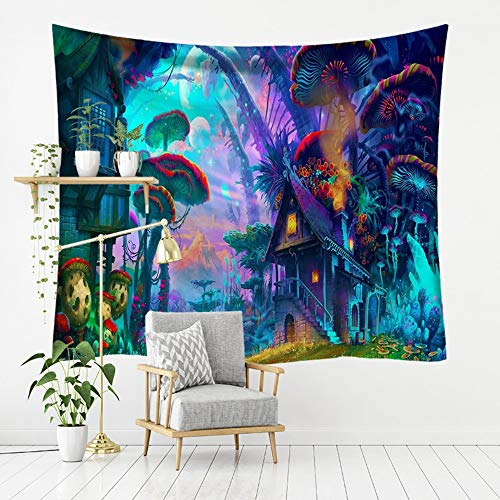 (Tapestry Wall Hanging, Colorful Fairy Tale Mushroom Houses,Bohemian Trippy Hippie Psychedelic Gothic Modern Print Fabric,Large Size Art Decorative Cloth for Living Room Bedroom,200 × 150 cm )