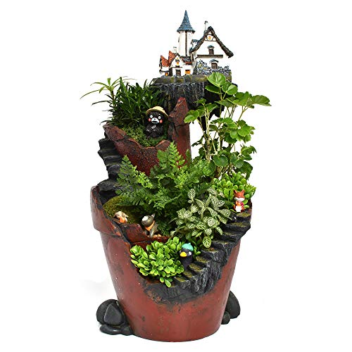 (Fairy Garden Planter Pot NCYP Succulents Flower Container Creative Vertical Broken Bucket Stump Style Holder Decoration Bonsai with Mini LED Solar Lighting Sweet House (City of Sky) No Plants)