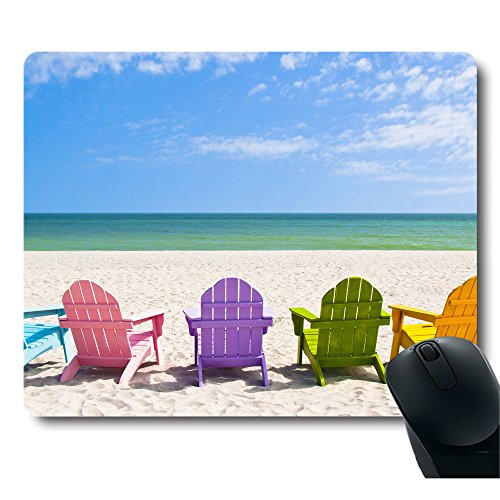 Adirondack Beach Chairs on a Sun Beach Holiday Vacation Travel House Mouse Pad ()