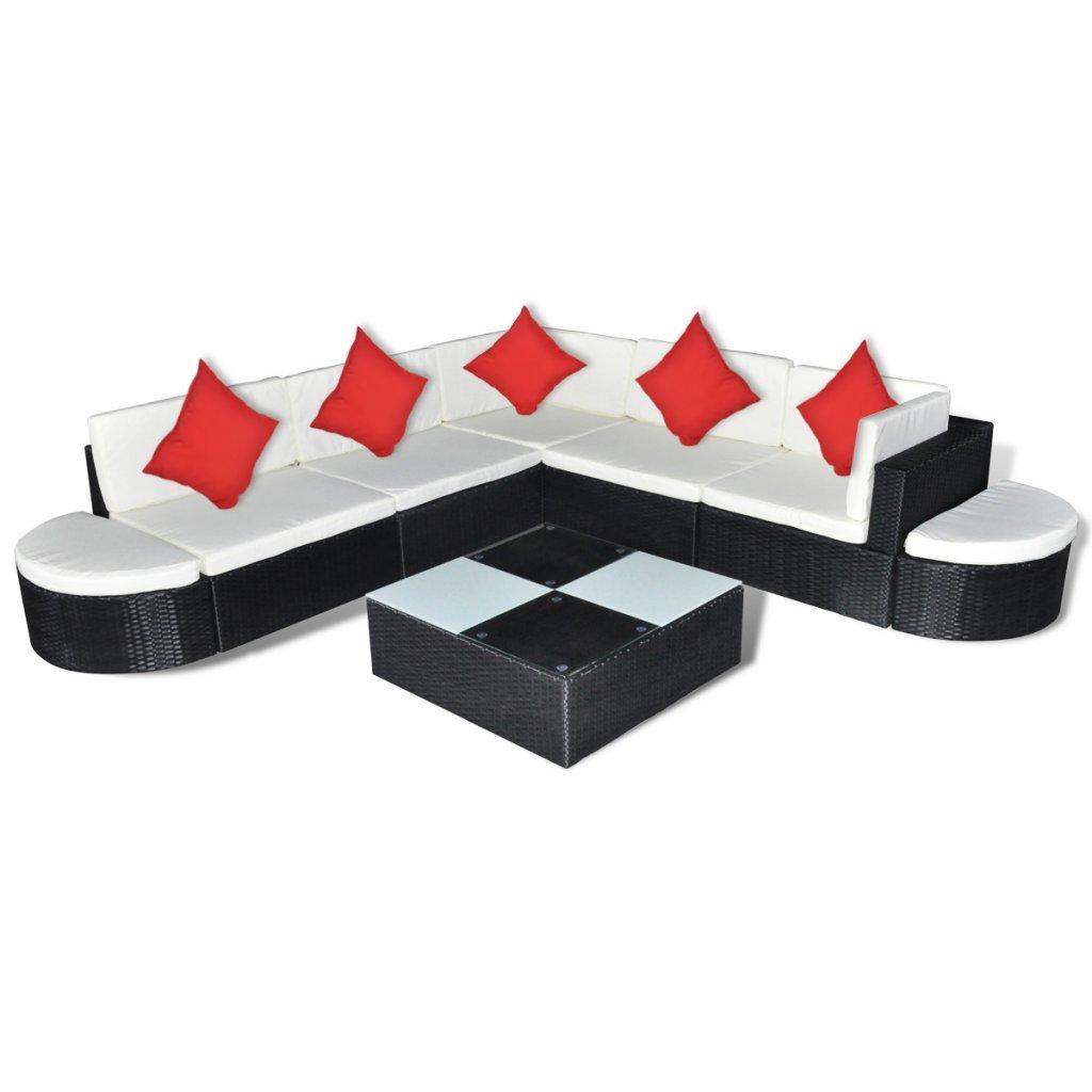 vidaXL Poly Rattan Gartenmöbel Set Lounge Schwarz 27-teilig