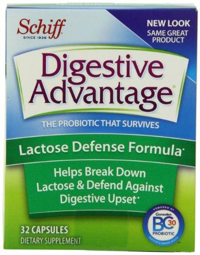 Formule Avantage digestif lactose Défense Capsules probiotiques, suppléments alimentaires, 32 Count (Pack de 3)