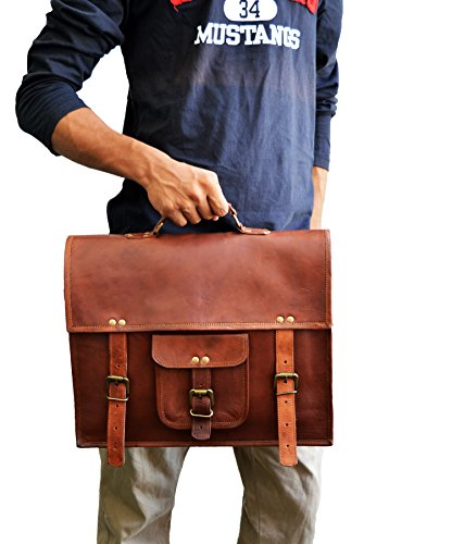 "15"" Men's Genuine Leather Messenger College Macbook Laptop Satchel Briefcase Bag"