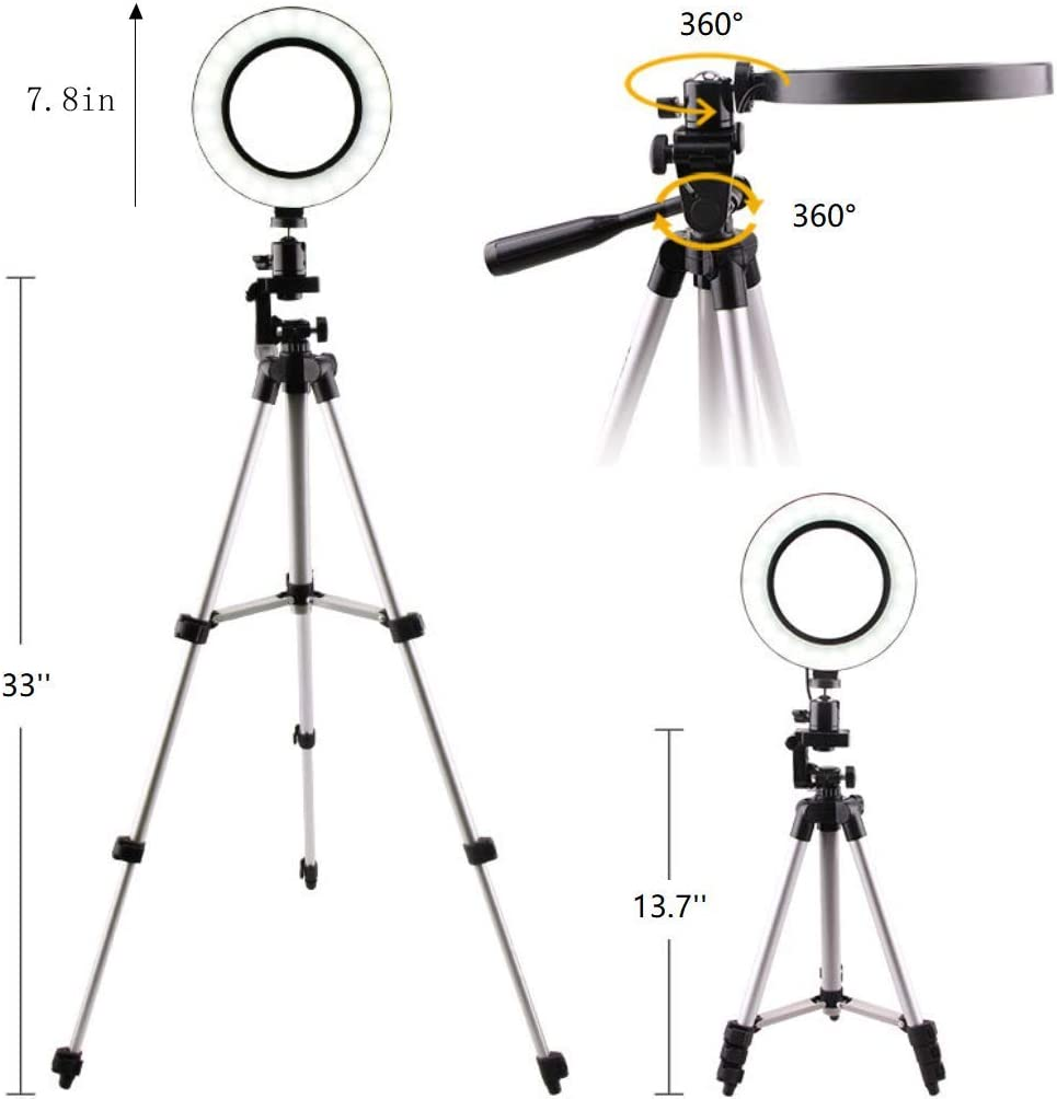 7.8 Selfie Ring Light with 33 Retractable Desktop Tripod Stand /& Led Camera Light for YouTube//TikTok Video and Live Makeup Photography 5W