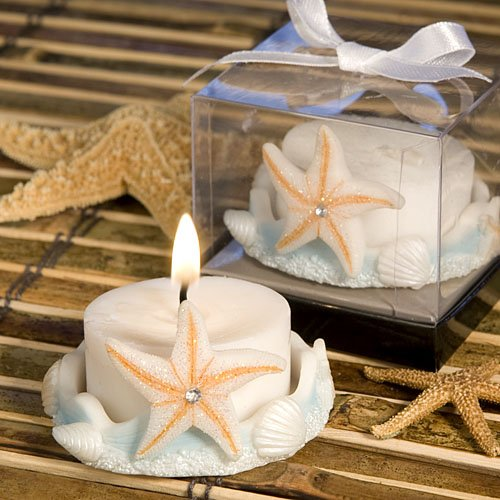 57 Natural and Sea Blue Starfish Design Saver Candle Favors by Fashioncraft (Image #2)