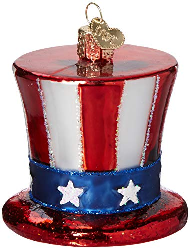 Old World Christmas Glass Blown Ornament Uncle Sam's Hat (36206) ()