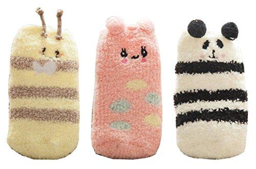 Cute Animal Super Warm Baby Fuzzy Soft Thick Socks 3 Pairs (3-5 Years, panda bee rabit) ()