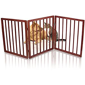 Kleeger Freestanding Folding Indoor Safety Wooden Pet Gate For Home Or Office. No Tools Required, Easy To Set Up 34