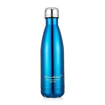 PluieSoleil Botella de Agua DeporteTermica bpa 500ml con Aislamiento de Botella de Agua de Acero Inoxidable para Los Deportes al Aire Libre Bicicleta ...