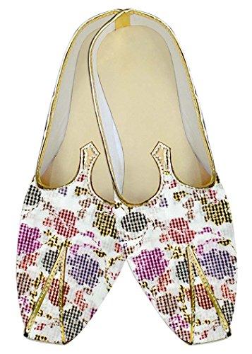 INMONARCH Hombres Boda Zapatos Comprueba Prined Blanco MJ017012