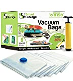 8 Pack Jumbo Vacuum Storage Space Saver Bag Set | Hand Vacuum Bags with Travel Pump | Space Bags for Home & Travel | Reusable Vacuum Bags | Airtight & Waterproof Saver Bags by Smart Storage