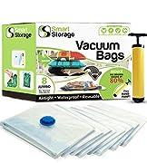 8 Pack Jumbo Vacuum Storage Space Saver Bag Set   Hand Vacuum Bags with Travel Pump   Space Bags for Home & Travel   Reusable Vacuum Bags   Airtight & Waterproof Saver Bags