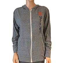 Detroit Tigers SAAG WOMENS Gray LS Full Zip Hooded Jacket with Pockets (M)