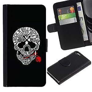 Be-Star la tarjeta de Crédito Slots PU Funda de cuero Monedero caso cubierta de piel Para Apple Iphone 5 / 5S ( Skull Red Blood Rock Roll Guitar Music )
