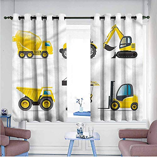 Digger Knob - Simple Curtain Boys Room Truck Crane Digger Mixer Decor Curtains by W63 xL72 Suitable for Bedroom,Living,Room,Study, etc.