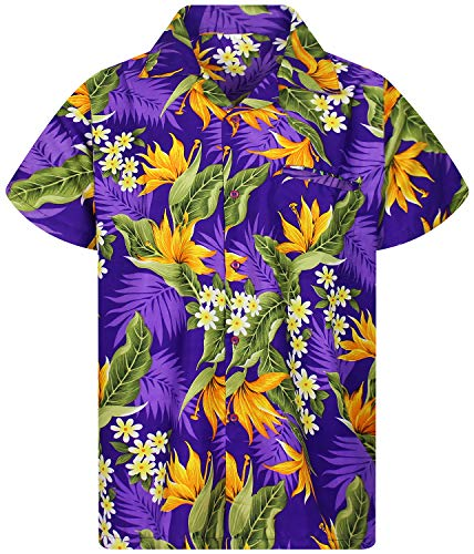 King Kameha Funky Hawaiian Shirt, Shortsleeve, Strelitzie, Purple, L ()
