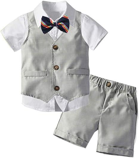 AEPEDC 1-6 Años Conjuntos de Ropa para Niños Conjuntos de Caballero Traje de Cumpleaños para Niños Corbata Bow Boy Ropa Chaleco + Camisa Blanca + Pantalones Cortos 4Pcs Traje Corto: Amazon.es: Deportes