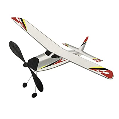 dailymall Rubber Band Elastic Powered Plane Police Knight Aircraft Outdoor Flying Toys: Toys & Games