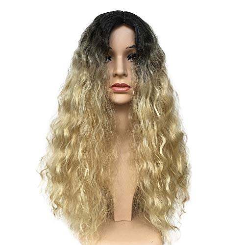 Littleice Wig Women Stained Black Gold Long Curly Hair Fluffy Hair Synthetic Water Wave Long Hair Wigs
