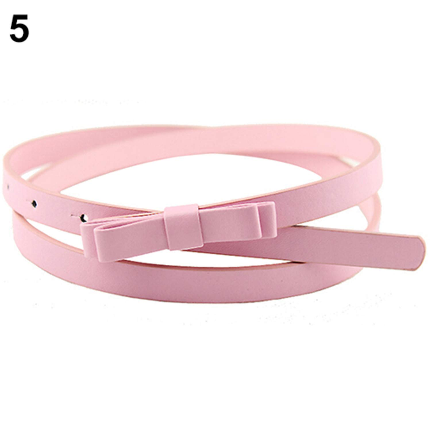 Womens Candy Color 2 Layers Bowknot Thin Narrow Belt PU Leather Waistband Strap