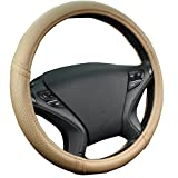 New Arrival- Car Pass Classical Leather Automotive Universal Steering Wheel Covers ,Universal Fit for Suvs,Trucks,Sedans,Cars,Vans(Beige)