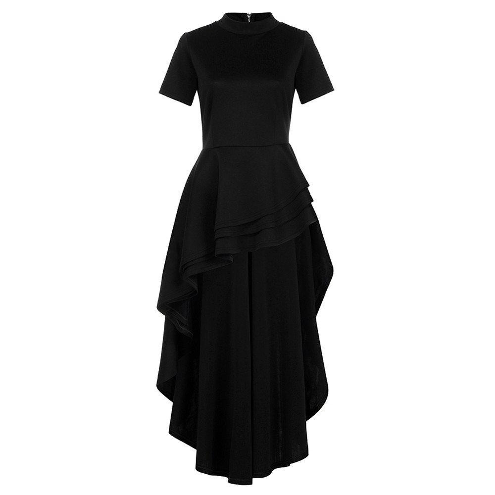 Women's Short Sleeve High Low Peplum Dress Womens High Collar Dress Vintage Lace Swing Dress(Black,L) by Kalinyer (Image #3)