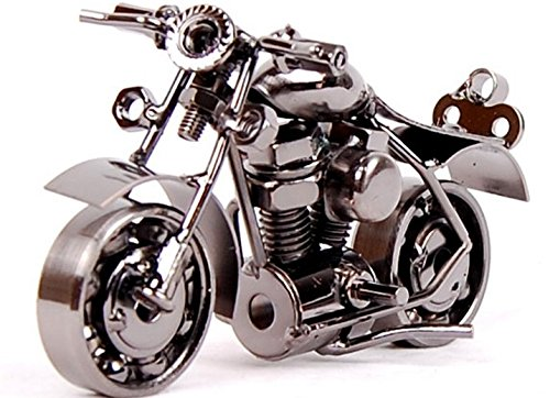 Makerfire Heavy Motorbike Model Retro Motorcycle Decoration Made of Die Cast Metal with Electrolytic Plating Finish (Grey)