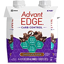 EAS AdvantEDGE Carb Control Protein Shake Chocolate Fudge Ready-to-Drink, 17 g of Protein 11 fl oz Bottle, 12 Count