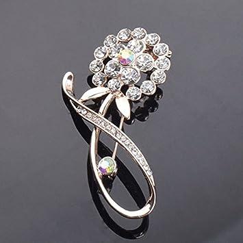 Amazon Com Crystal Flower Brooch Korean Temperament Diamond