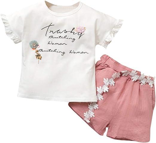 liqiqi Niñas Camiseta Falda para niña Letra Flores impresión ...