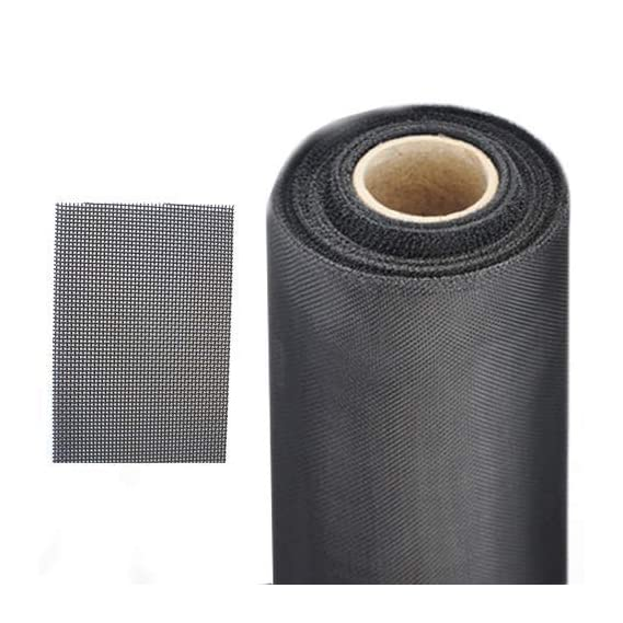 NITIN Wires & Meshes Stainless Steel SS 304 Mosquito Net (Black Powder Coated) Wire/Wirenetting Mesh Roll 18x16-3 Feet x