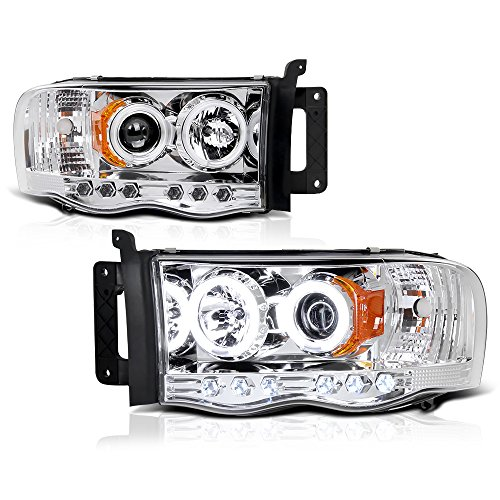 [For 2002-2005 Dodge RAM 1500 2500 3500] CCFL Halo Ring Chrome Projector Headlight Headlamp Assembly, Driver & Passenger Side