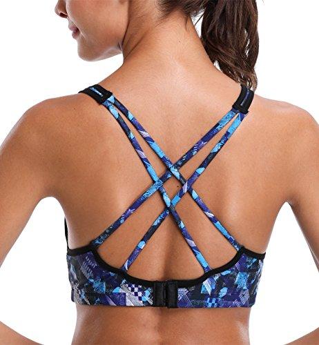 ATTRACO women sports bra light impact activewear bra criss-back blue x-large