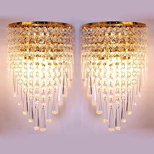 HOMWEERUN A Pair Left & Right 2Pcs E12 Modern K9 Crystal Mirror Stainless Steel Wall Lights Wall Lamps Sconce Night Light Lamps Fixtures Lights with Switch for Hallway Bedside Living Room (Gold) (Lamp Crystal Gold)