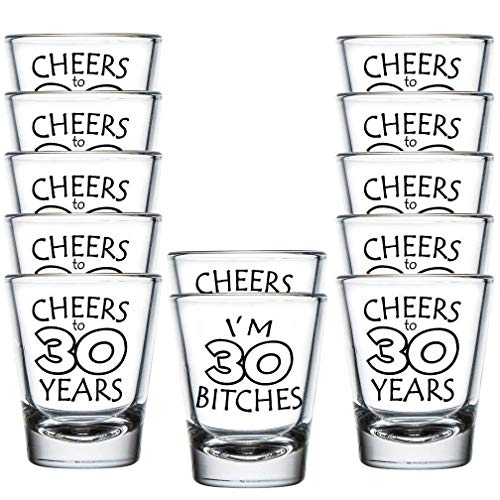 Shop4Ever I'm 30 Bitches ~ Cheers to 30 Years ~ Shot Glasses ~ 30th Birthday ~ (Shot Set of 12, 1.5 -