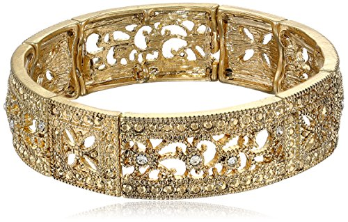 1928 Jewelry Vintage Lace Crystal Filigree Stretch Bracelet