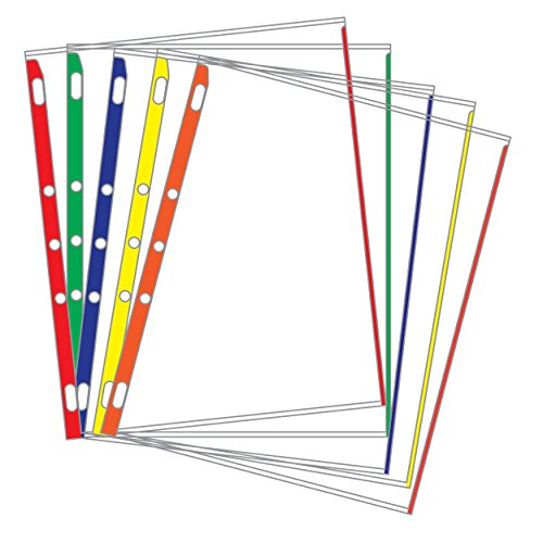Sheet Protectors Color-Coded Edges 8.5 X 11 Pack of 100 (Assorted) - Protectors Sheet Tabbed