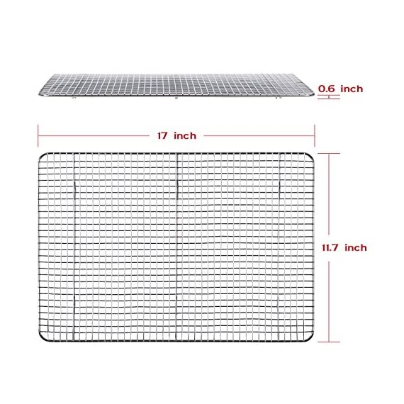 "Hiware Cooling Rack for Baking - 11.8"" x 16.5"" - Stainless Steel Wire Cookie Rack Fits Half Sheet Pan, Oven Safe for Cooking, Roasting, Grilling 2 SOLID STAINLESS STEEL GRID CONSTRUCTION - Hiware's cooling rack is made of high quality [GRADE] stainless steel that is made to last for years. The tight grid design gives stability to the rack, which makes it easy to balance baked goods, meats, fruits, and vegetables without the possibility of them falling through the slats. OVEN AND GRILL SAFE - This commercial-grade rack resists heat up to 575 degrees Fahrenheit making it perfect for use in the oven or grill. This versatile rack is the perfect complement to any kitchen and holds up to 20 pounds of food without sagging or bending. PERFECT SIZE - Measuring 11.8""x16.5"", the Hiware rack fits inside a half sheet (13""x18"") cookie pan or comfortably on a countertop. After use, it is easy to store in your cabinet or drawer."