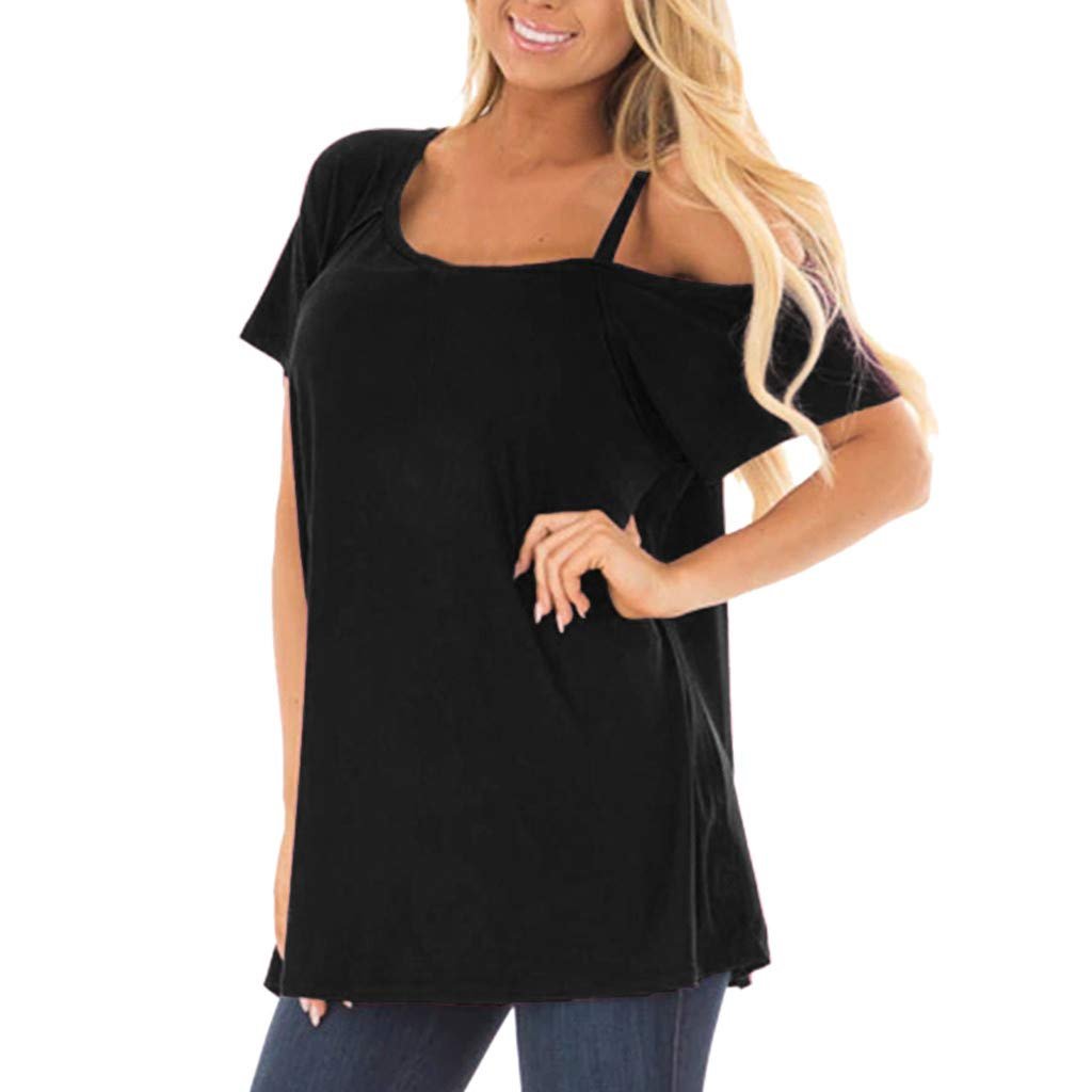 Women Causal T-Shirt Solid Boat Neck Off Shoulder Tunic Blouse Tops (S, Black)