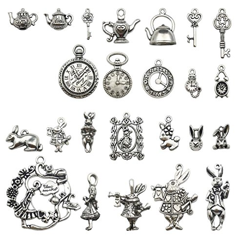 (40 PCS Alice in Wonderland Fairy Charms Collection - Antique Alice Rabbit Steampunk Skeleton Keys Pendants Jewelry Findings (Silver)