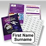 90x Personalised Garment Stickers, STIKINS® Label Planet®, Children's School Uniform/Clothes/Clothing Labels For Kids/Children, New Stick In Name Labelling NO NEED TO IRON ON/SEW, Adhesive White Vinyl For School Wear, Message Name To Be Printed