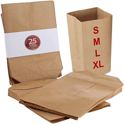 25 Adventskalender Tüten aus Kraftpapier für Adventskalender zum selbst befüllen, Größe XL (17 x 26 cm), Geschenktüten zum selbst befüllen, Papiertüten zum Adventskalender basteln mit Boden, ungefädelt, Set