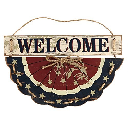 Wooden Bunting Welcome Wall Hanging Patriotic Slice