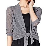 Rgslon Womens Sheer Shrug Lightweight Bolero Cardigan Mesh Knit Tie Top Cardigan
