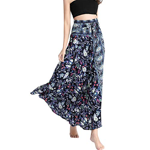 Rysly Women's Elastic Waist Bohemian Long Skirt Summer Beach Skirt Casual Floral Dresses Blue Feather