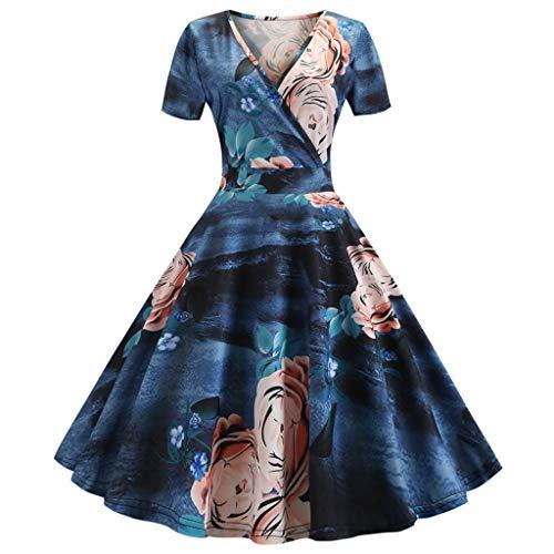 Women's Cocktail Party Dress Vintage 1950s Retro Short Sleeve Swing Dress Evening Prom Hepburn Dress (XL, Blue)