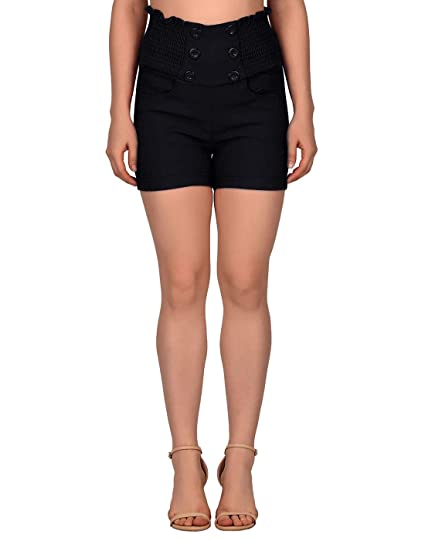 294ba135938 HDE Women s High Waisted Sophisticated Front Button Trendy Vintage Sailor  Shorts