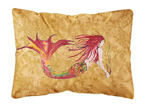 Caroline's Treasures Ginger Red Headed Mermaid On Gold Canvas Fabric Decorative Pillow, Large, Multicolor