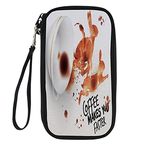 Wallets Clutch Ladies Espresso - iPrint Coffee Art,Drink and Be Inspired Coffee Makes You Faster Quote Espresso Stain,Burnt Sienna Black White for Women Canvas Document Organizer Clutch