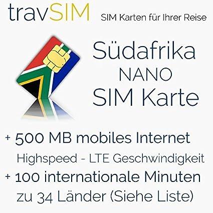 Internationale Sim Karte.Sim Karte Für Südafrika Nano Sim 500mb Mobilem Internet Datenvolumen Für 30 Tage 100 Minuten Für Internationale Anrufe In 34 Länder